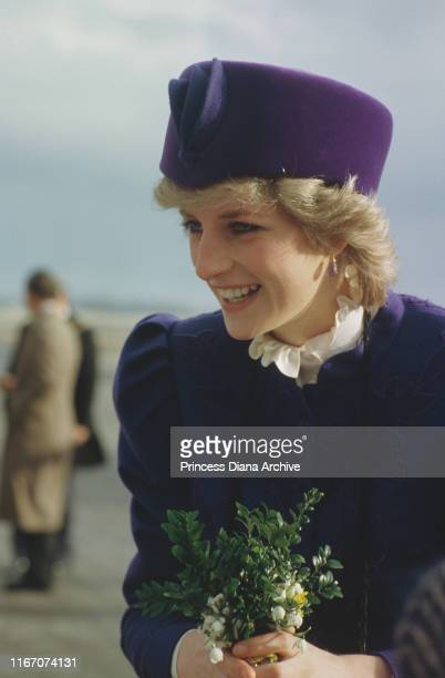Diana Princess of Wales visits Hull England March 1986 She is wearing a blue suit by Caroline Charles