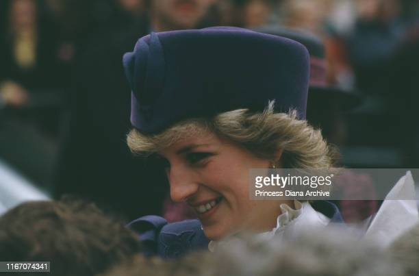 Diana, Princess of Wales visits Hull, England, March 1986. She is wearing a blue suit by Caroline Charles.