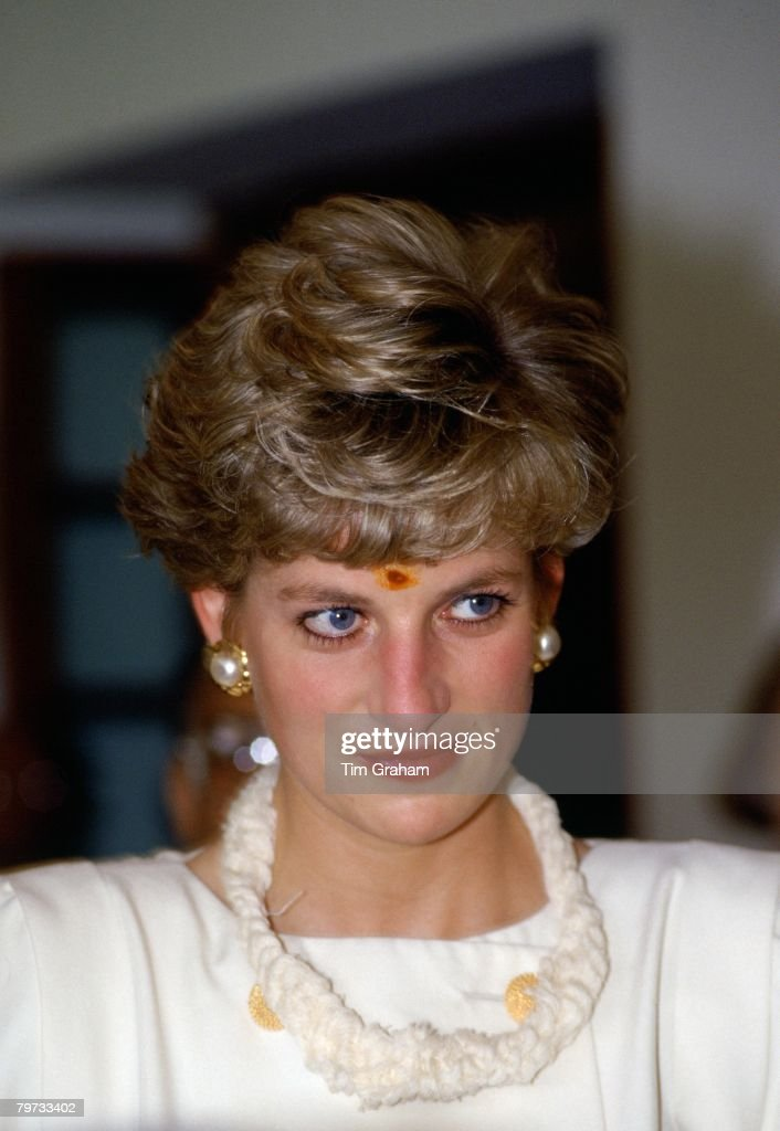 Diana, Princess of Wales visits Hyderabad in India wearing a traditional bindi mark on her forehead