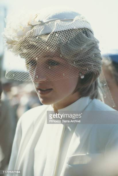 Diana Princess of Wales visits Launceston in Tasmania April 1983 She is wearing a Jasper Conran suit and a hat by John Boyd