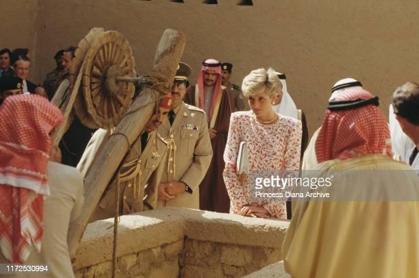 Diana Princess of Wales visits Masmak Fort in Riyadh Saudi Arabia 16th November 1986 She is wearing a dress by Catherine Walker