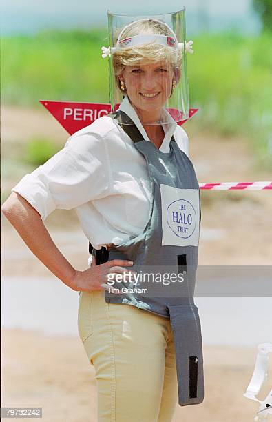 Diana, Princess of Wales visits mined areas being cleared by the charity Halo in Huambo, Angola, Diana is wearing protective body armor and a visor
