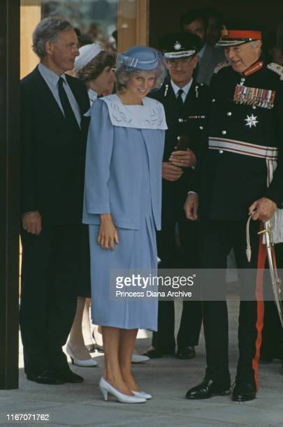 Diana, Princess of Wales visits Odstock Hospital in Salisbury, UK, June 1984. She is pregnant with Prince Harry, and wearing a maternity suit by Jan...