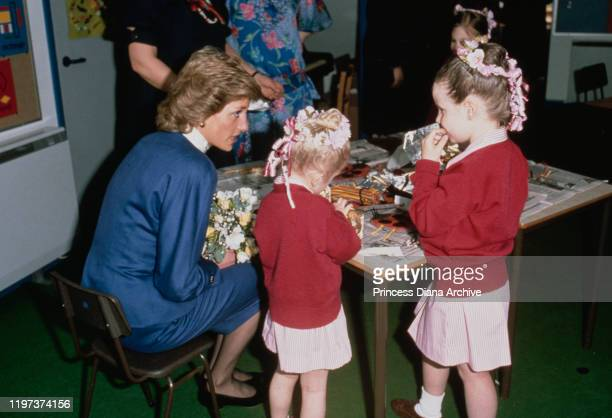 Diana Princess of Wales visits Riddlesworth Hall School her old school in Norfolk UK April 1989