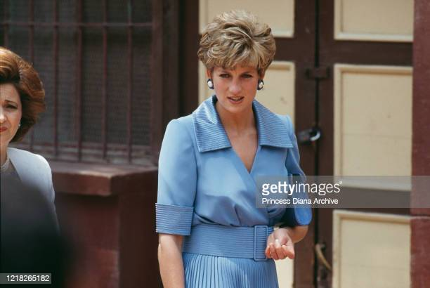 Diana, Princess of Wales visits the Al Nur School in Cairo, Egypt, with Jehan Sadat , the widow of former Egyptian President Anwar Sadat, 11th May...