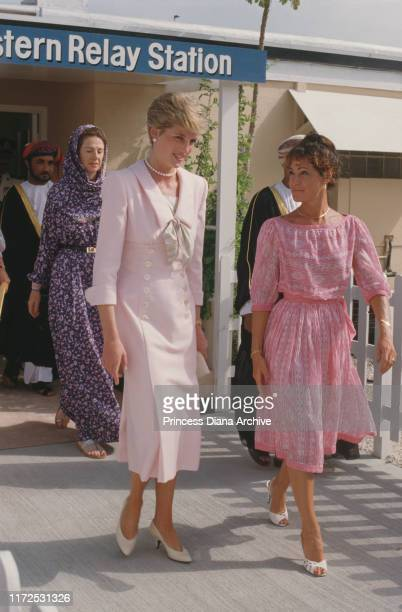 Diana, Princess of Wales visits the British Eastern Relay Station on Masirah Island off the coast of Oman, 14th November 1986. She is wearing a pink...