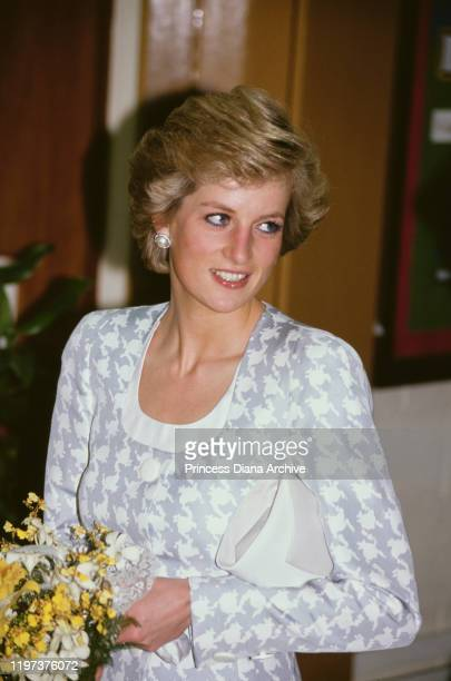 Diana, Princess of Wales visits the British School in Jakarta, Indonesia, November 1989. She is wearing a suit by Catherine Walker.