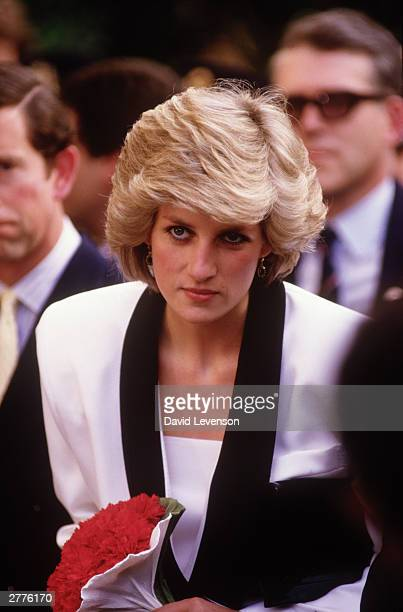 Diana Princess of Wales visits the Children's Hospital on April 26 1985 in Rome Italy She and Prince Charles were on a Royal Tour of ItalyDiana wore...