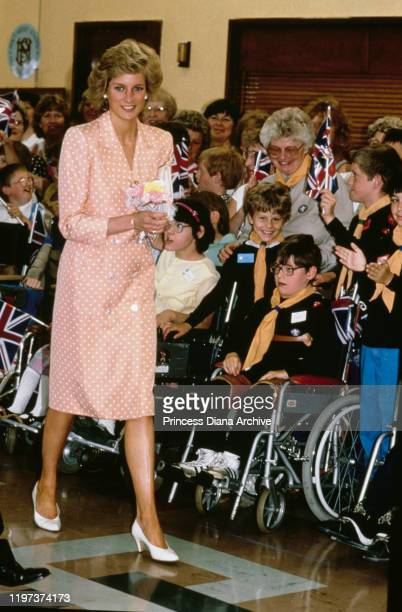 Diana Princess of Wales visits the Freeman Hospital in Newcastle UK 12th July 1989 She is wearing a spotted coatdress by Catherine Walker