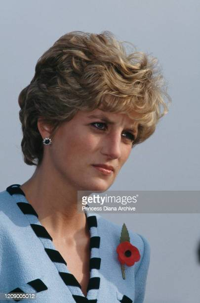 Diana, Princess of Wales visits the Gloucester Valley Battle Monument or 'Gloster Memorial' in South Korea, 3rd November 1992. The monument...