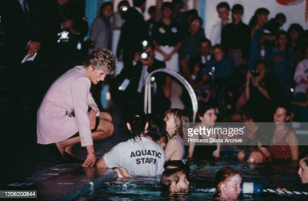 Diana Princess of Wales visits the Hugh MacMillan Rehabilitation Centre in Toronto during an official visit to Canada 25th October 1991