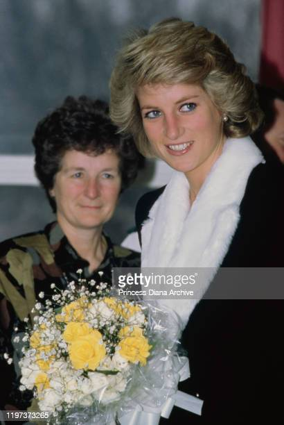 Diana Princess of Wales visits the Mildmay Mission Hospital for patients with HIV and AIDS in Bethnal Green London February 1989 She is wearing a...