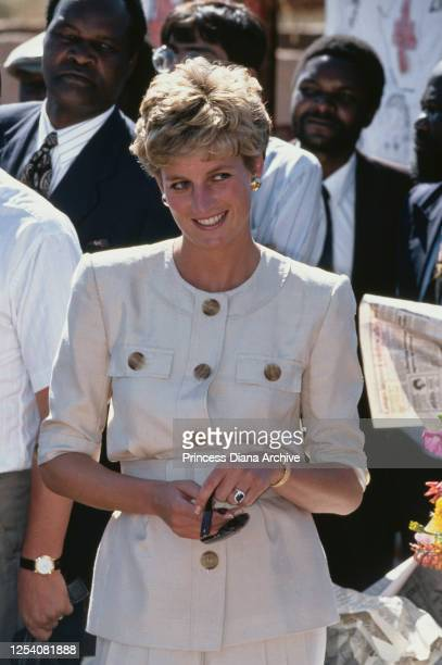 Diana, Princess of Wales visits the Nemazuva Child feeding centre near Masvingo in Zimbabwe, to see the work done by the Zimbabwe Red Cross, 12th...