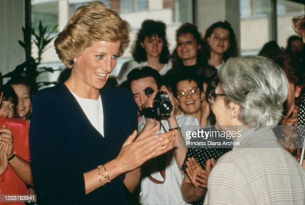 Diana Princess of Wales visits the Peto Institute for children with cerebral palsy in Budapest Hungary and meets Dr Maria Hari director of the...