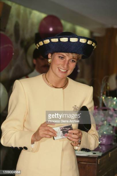 Diana, Princess of Wales visits the Rideaucrest care home for the elderly in Kingston, Ontario, Canada, 28th October 1991. She is holding a cassette...