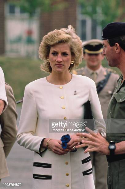 Diana, Princess of Wales visits the Royal Hampshire Regiment at Tidworth Camp in Wiltshire, UK, 7th June 1989. She is Colonel-in-Chief of the...