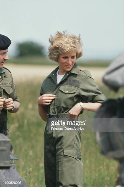 Diana, Princess of Wales visits the Royal Hampshire Regiment during manoeuvres at Tidworth in Wiltshire, England, 23rd June 1988.