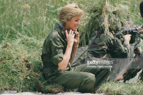 Diana Princess of Wales visits the Royal Hampshire Regiment during manoeuvres at Tidworth in Wiltshire England 23rd June 1988