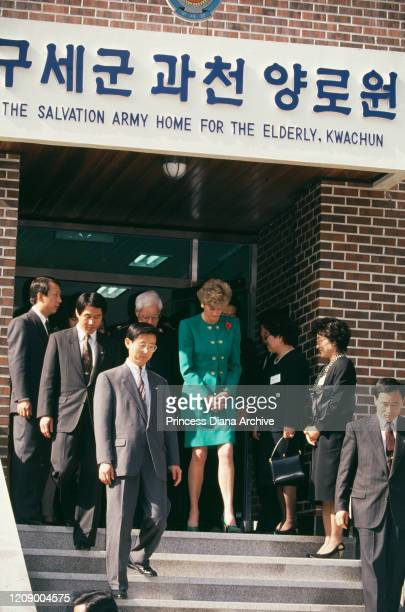 Diana, Princess of Wales visits the Salvation Home for the Elderly in Kwachun , near Seoul in South Korea, 4th November 1992.