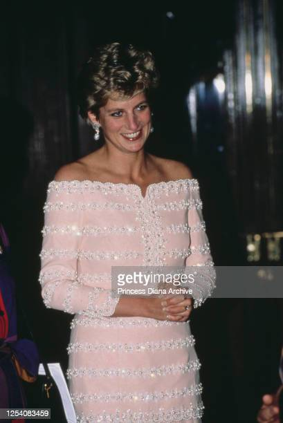 Diana Princess of Wales visits the Savoy Theatre in London for its official reopening after its restoration 19th July 1993 Her pink silk dress with...