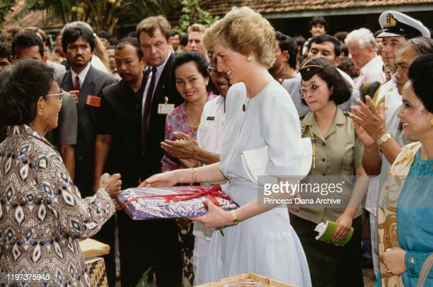 Diana Princess of Wales visits the Sitanala Leprosy Hospital in Tangerang Greater Jakarta Indonesia November 1989 She is wearing a dress by Catherine...