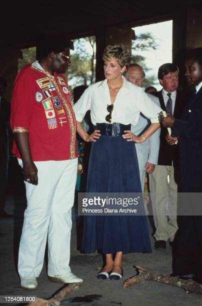 Diana, Princess of Wales visits the Tongogara Refugee Camp near Chipinge in Zimbabwe, to see the work done by the British Red Cross, 13th July 1993....