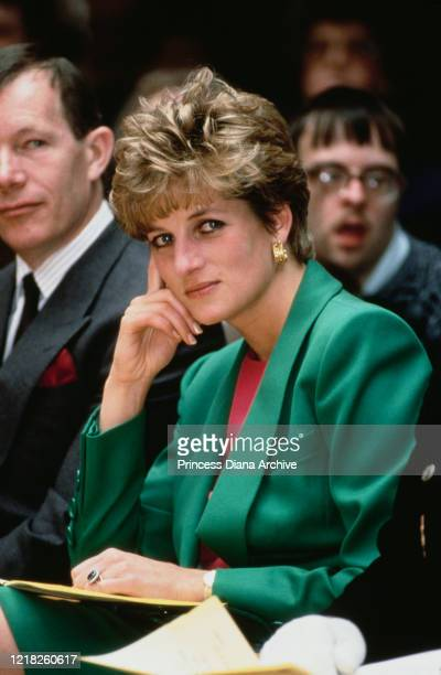 Diana, Princess of Wales visits the Whitemoor Centre in Belper, UK, 28th April 1992.