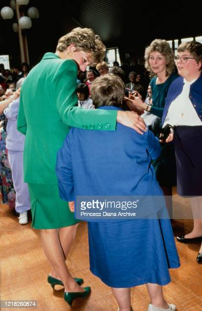 Diana Princess of Wales visits the Whitemoor Centre in Belper UK 28th April 1992