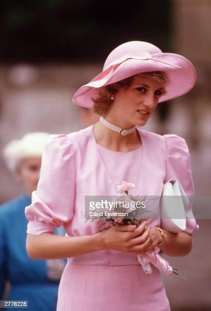 Diana Princess of Wales visits Westonbirt School on June 19 1985 in Tetbury Gloucestershire