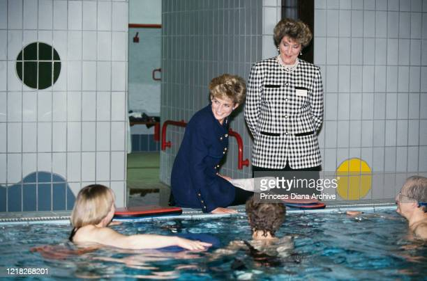 Diana Princess of Wales visits Woodlawn School for children with special needs in Tyne and Wear UK on the day her separation from Prince Charles was...