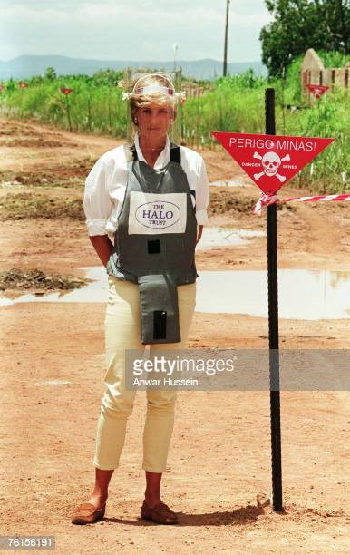 Diana Princess of Wales walks with body armour and a visor on the minefields during a visit to Angola on January 30 1997