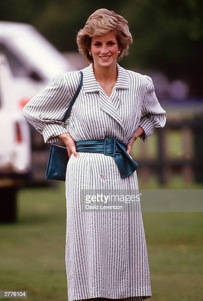 Diana Princess of Wales watches Prince Charles playing polo at Guards Polo Club on Smiths Lawn Windsor Berkshire in June 1986