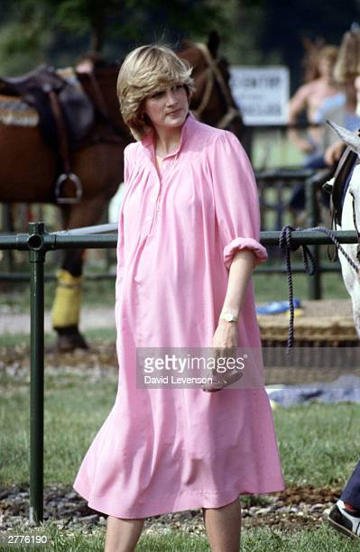 Diana Princess of Wales watches Prince Charles playing polo on May 30, 1982 at the Guards Club, Smiths Lawn, Windsor. Diana was pregnant at the time...