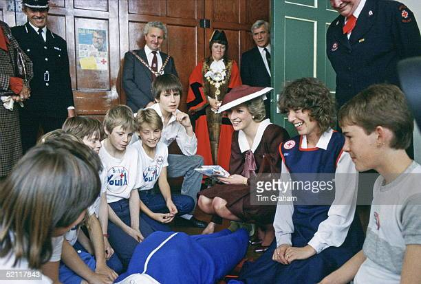 Diana, Princess Of Wales Watching A Life-saving Class In Her Role As Patron Of British Red Cross Youth During An Official Visit To Cardigan In Wales