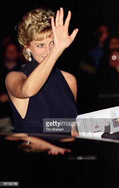 Diana Princess of Wales waves as she leaves a Pavarotti Concert at The Royal Albert Hall held in aid of The Red Cross Princess Diana is patron of The...