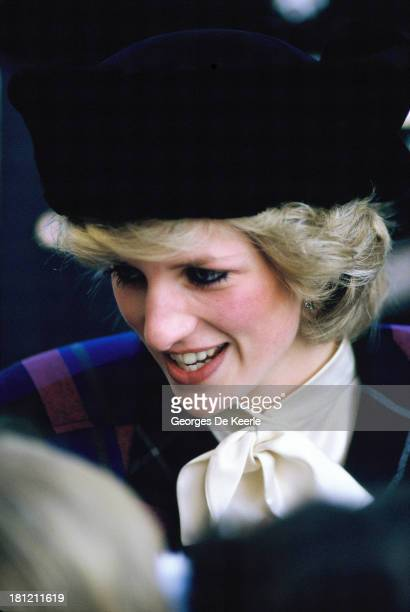Diana Princess of Wales wear a russian style kossack fake fur hat designed by Milliner Marina Killery on December 1984 in Shrewsbury England