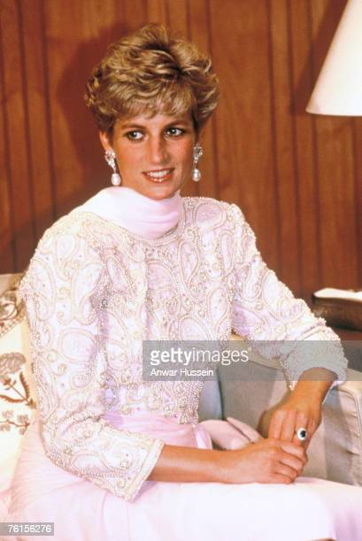 Princess Diana in a Catherine Walker dress at a reception in her honour in Lahore Pakistan in October in 1991