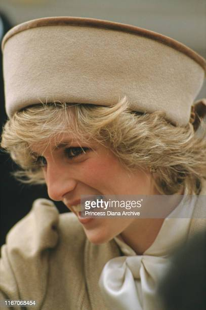 Diana Princess of Wales wearing a beige Caroline Charles coat during a visit to Derby UK February 1985