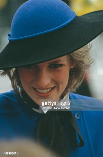 Diana, Princess of Wales wearing a Bellville Sassoon coat and a hat by Frederick Fox during a visit to Hereford, England, 9th April 1985.