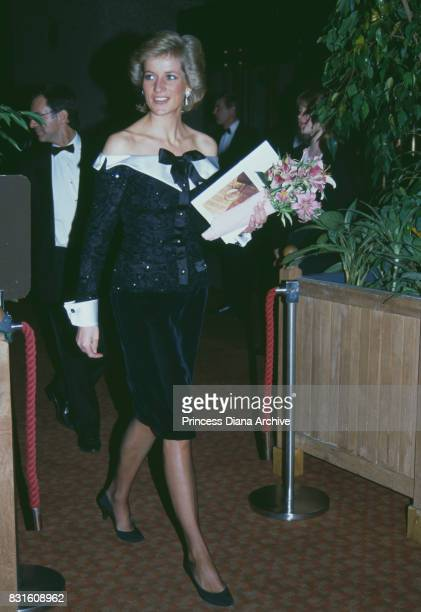 Diana Princess of Wales wearing a Bellville Sassoon suit attends a charity concert at The Barbican London UK September 29 1989