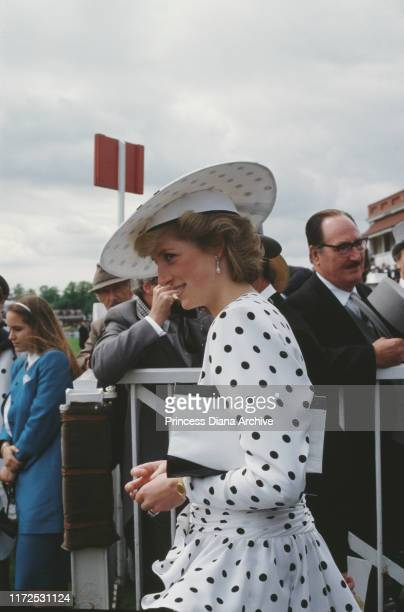 Diana, Princess of Wales wearing a black and white spotted dress by Victor Edelstein at the Epsom Derby, UK, June 1986.
