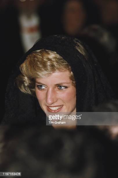 Diana, Princess of Wales wearing a black lace mantilla during an audience with Pope John Paul II at the Vatican in Italy, 29th April 1985.
