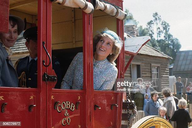 Diana Princess of Wales enjoys a ride in a stagecoach on April 15 1983 in Ballarat Australia