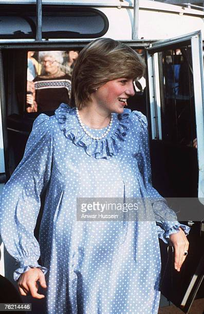 Princess Diana Princess of Wales seven months pregnant in Scilly Isles in April 1984