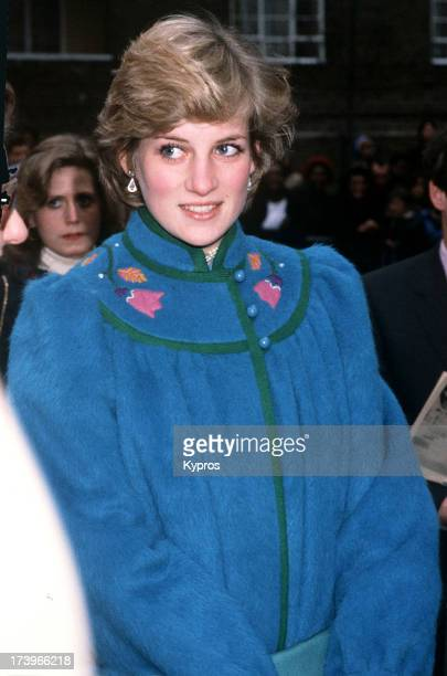 Diana Princess of Wales wearing a blue embroidered coat in London circa 1982