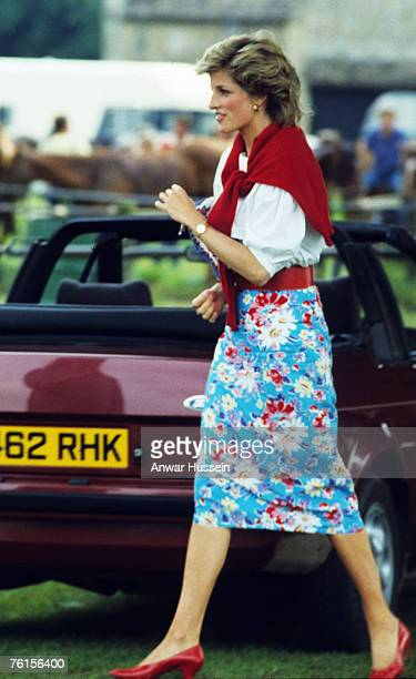 Princess Diana Princess of Wales is casual in flowered skirt at polo in Cirencester