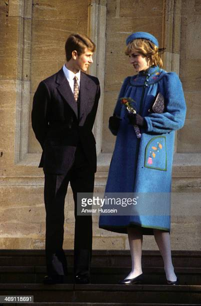 Prince Edward chats to Diana Princess of Wales following a Christmas Day service at St George's Chapel on December 25 1981 in Windsor England