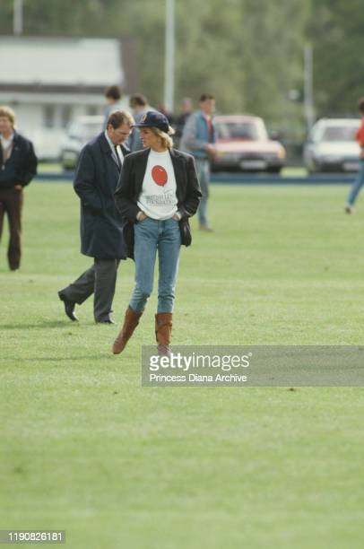 Diana, Princess of Wales wearing a British Lung Foundation sweatshirt at the Guards Polo Club in Windsor, 2nd May 1988.