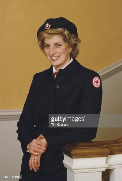 Diana Princess of Wales wearing a British Red Cross uniform 1st November 1985