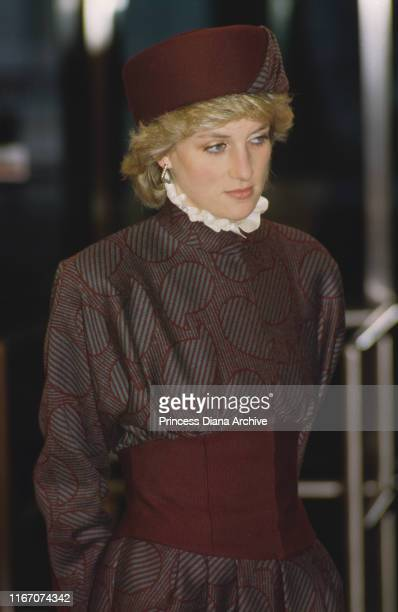 Diana Princess of Wales wearing a Bruce Oldfield suit during the opening ceremony of Terminal 4 at Heathrow Airport England April 1986